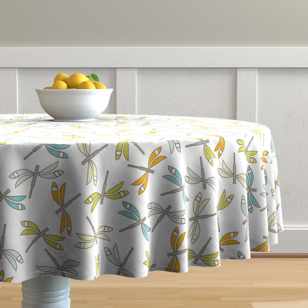 Malay Round Tablecloth featuring Dragonfly, white lg by cindylindgren