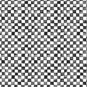 "tiny watercolor checkerboard 1/4"" squares - black and white"