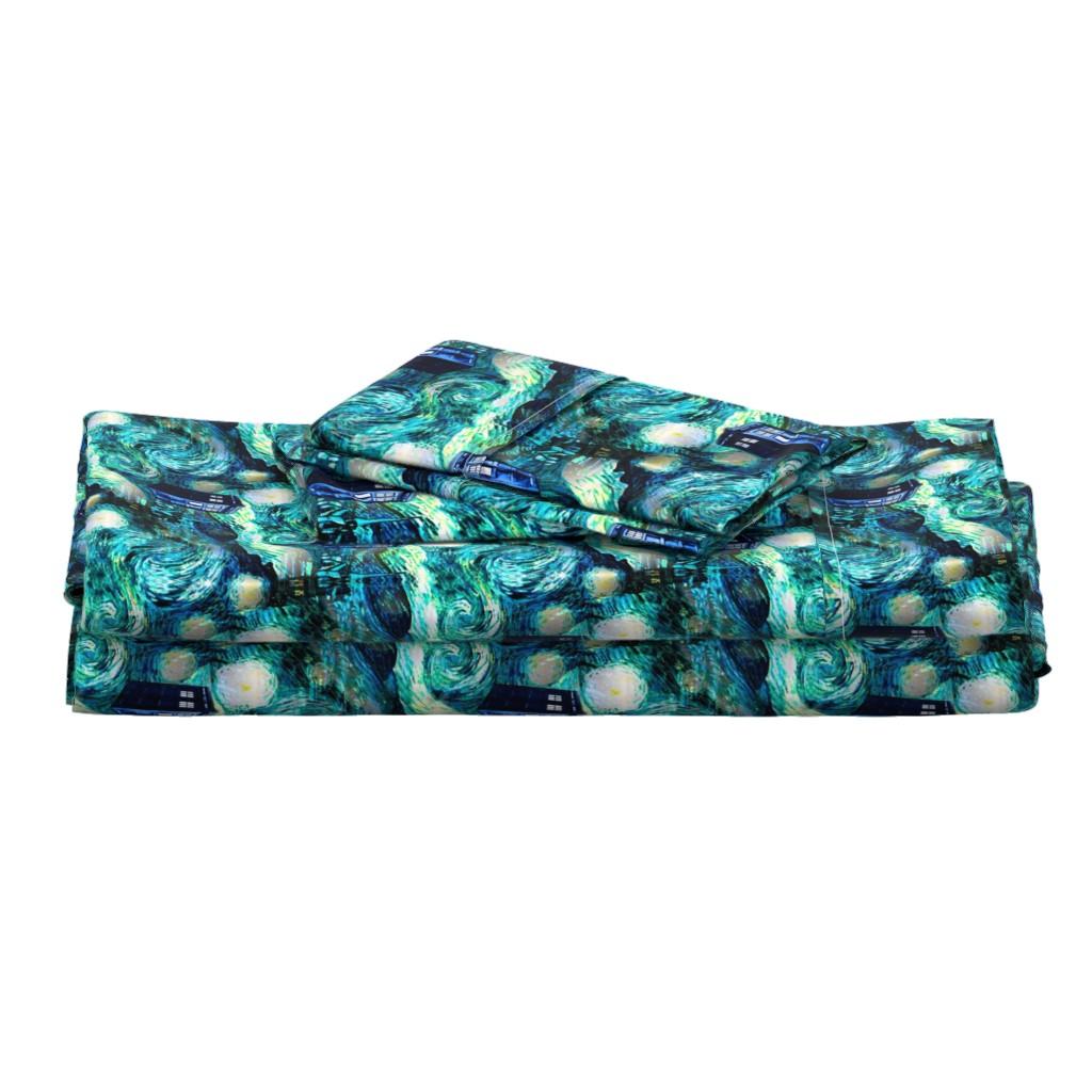 Langshan Full Bed Set featuring teal swirls blue police box starry night landscape (Valerie 375 dpi) by bohobear