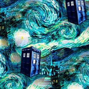 teal swirls blue police box starry night landscape (Valerie 375 dpi)