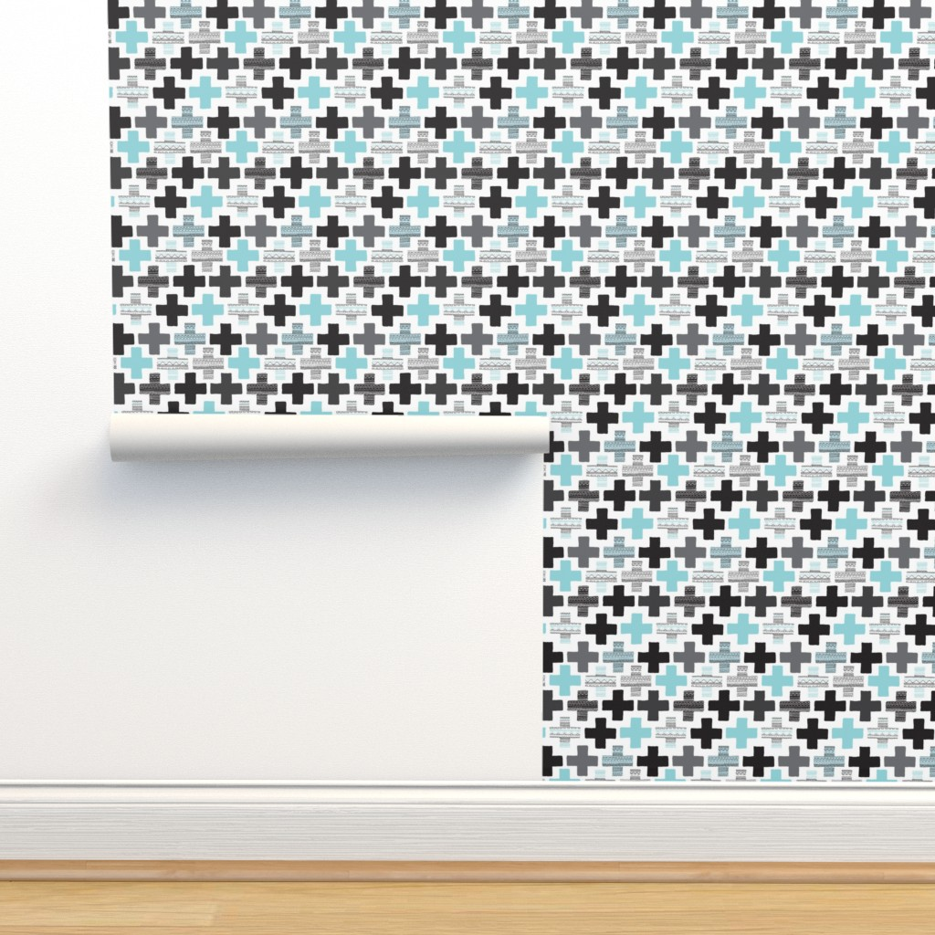 Isobar Durable Wallpaper featuring Plus plus cross geometric modern patterns by littlesmilemakers