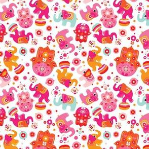 Elephants and oriental hamsa india pattern