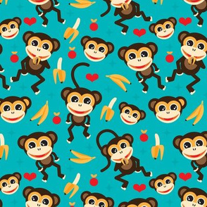 Cute baby boy nursery monkey and banana