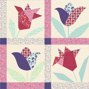 spring tulips cheater quilt