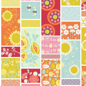 Spring Blooms Cheater Quilt_4InVert