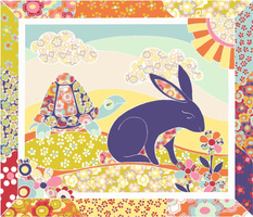 Spring Hare Cheater Quilt ( Fat Quarter)