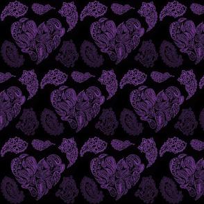 PURPLE PASSION  PAISLEY HEARTS