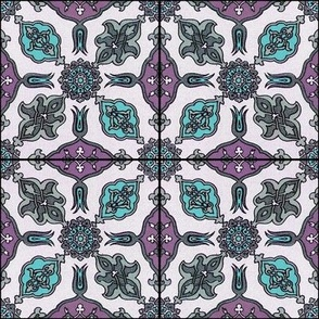 Racinet Moroccan Tile ~ Emerald and Orchid
