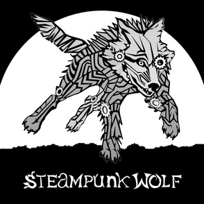 LOGO steampunk wolf GRAY WOLF 1 yards centered