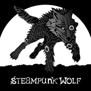 LOGO steampunk wolf BLACK WOLF 1 yard centered