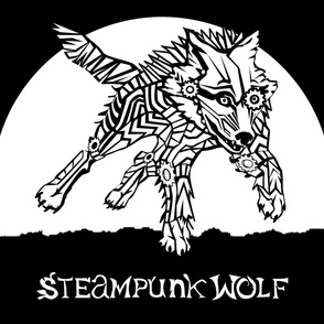 LOGO steampunk wolf WHITE WOLF 1 yard centered