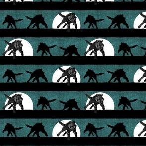 steampunk wolf running stripe teal