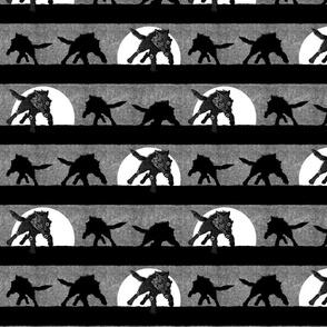 steampunk wolf running stripe gray