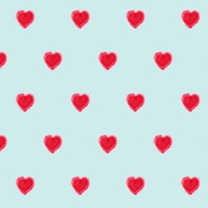 Watercolor hearts in light blue