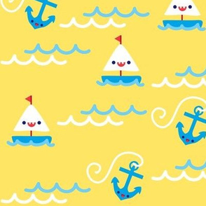 Sailboats & Anchors - Yellow