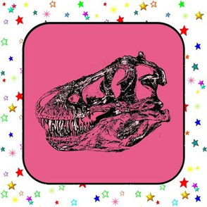 Bohemian Dinosaur | Vintage T-Rex Skull on Pink, Cheater Quilt Blocks