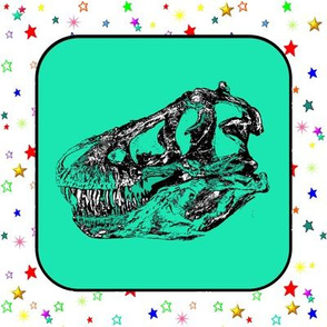 Dinosaur |  Vintage T-Rex Dinosaur Skull on Green, Rainbow Starfield on White, Cheater Quilt Blocks