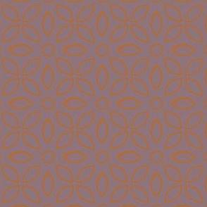 Orange Outline On Mauve Jaalli