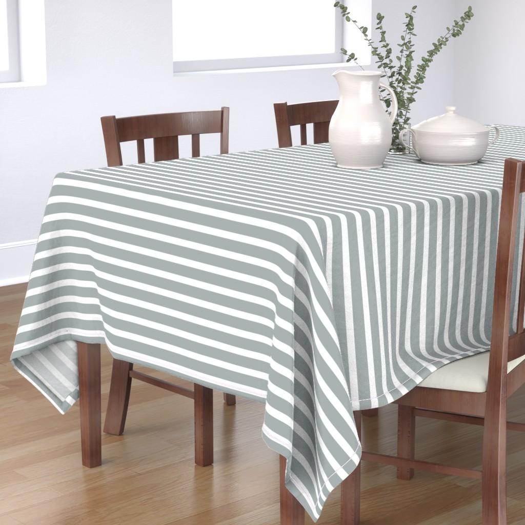 Bantam Rectangular Tablecloth featuring Stripes in Paloma Grey by daniellereneefalk