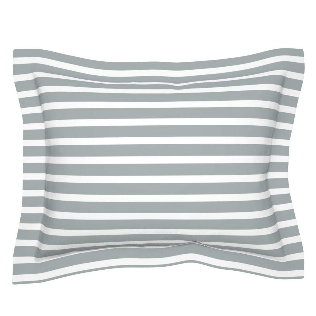 Sebright Pillow Sham featuring Stripes in Paloma Grey by daniellereneefalk