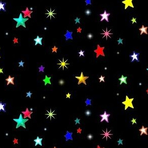Bright Colorful Stars on Black