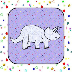 Bohemian Dinosaur |  Triceratops on Purple Starfield Cheater Quilt Block