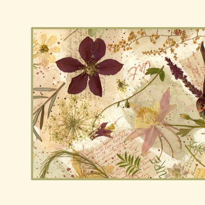 Columbine and Bird Tea Towel
