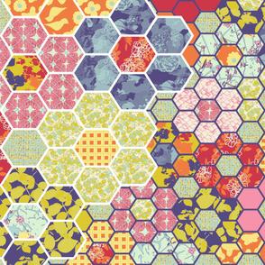 Floral Hex Cheater Quilt Center