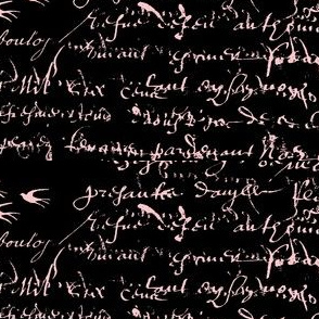 Amore, French Script in Pink on black