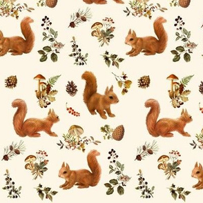 Red Squirrels on Natural Cream
