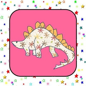 Bohemian Dinosaur | Stegosaurus on Pink and White Colorful Stars Cheater Quilt Block