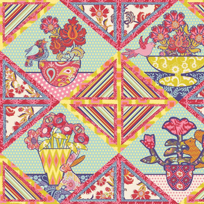 Spring Friends and Flowers Cheater Quilt