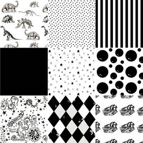Black and White Patchwork Cheater Quilt | Stars Dinosarus Stripes Harlequin Rockets