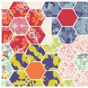 Floral Hex Cheater Quilt Square