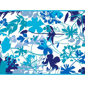 Blue Garden Tea Towel