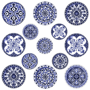 Blue & White China Plates ~ 8 inch plate