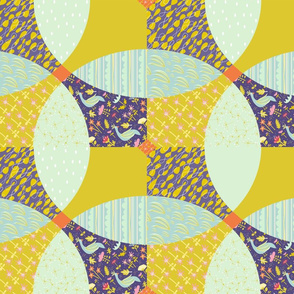 'love garden' - cheater floral quilt block