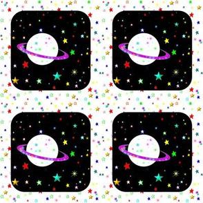 Saturn on Rainbow Starfield Quilt Block Square