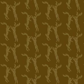 Boxing Hares - Mahogany & Gold