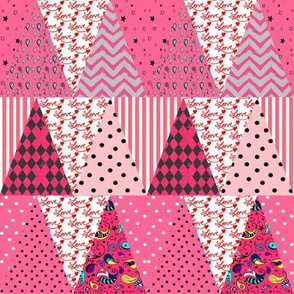 Triangle Pennant Bunting Pink Valentine's Day Patchwork