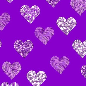Patterned hearts on purple
