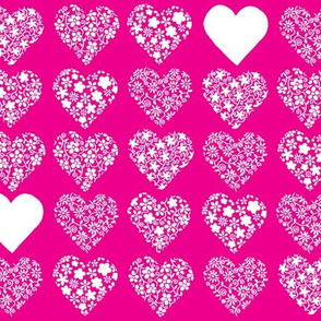 Floral patterned hearts on fuschia background