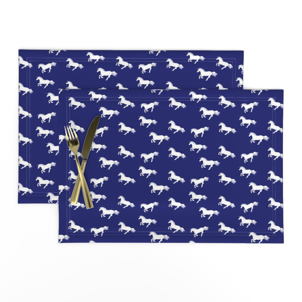 Lamona Cloth Placemats featuring Unicorn Stampede Navy by thistleandfox