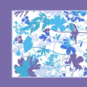 Purple Garden tea towel