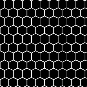 Black and White Hexagon, Honeycomb, Beehive