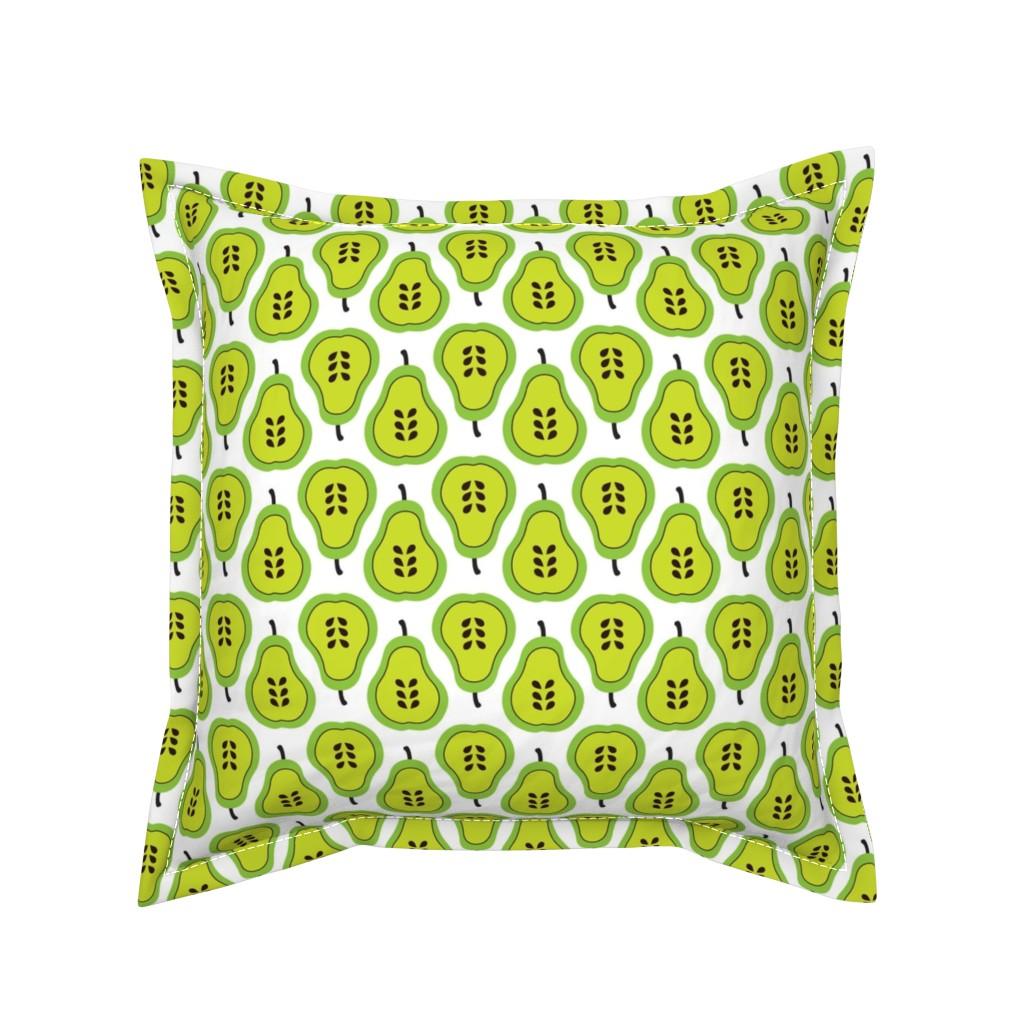 Serama Throw Pillow featuring Fantastic freshtastic green retro pear pattern by littlesmilemakers