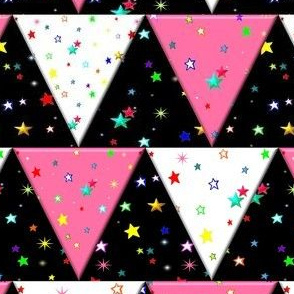 Star Triangle Pennant Bunting White Pink Black