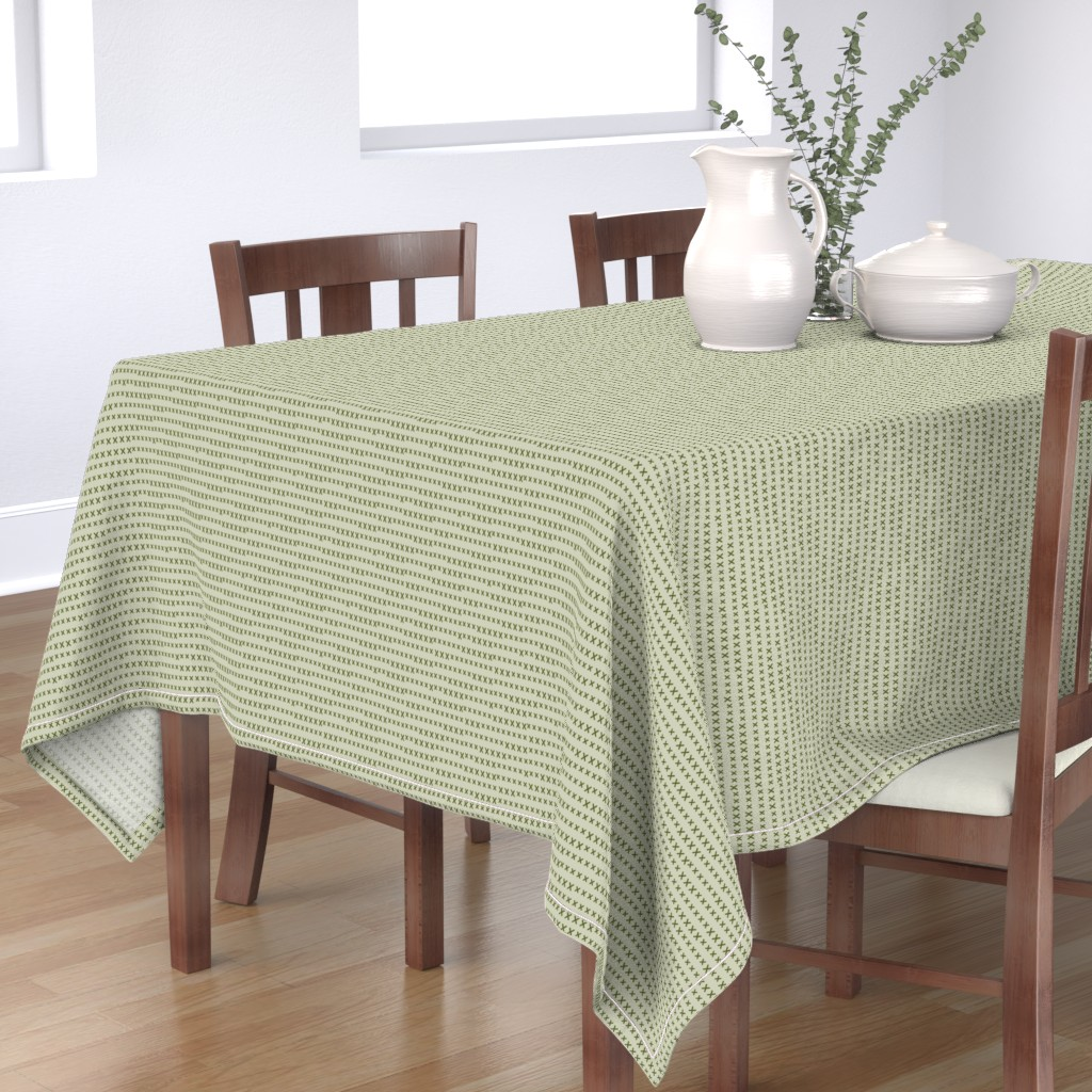Bantam Rectangular Tablecloth featuring grass green kisses on sage by ali*b