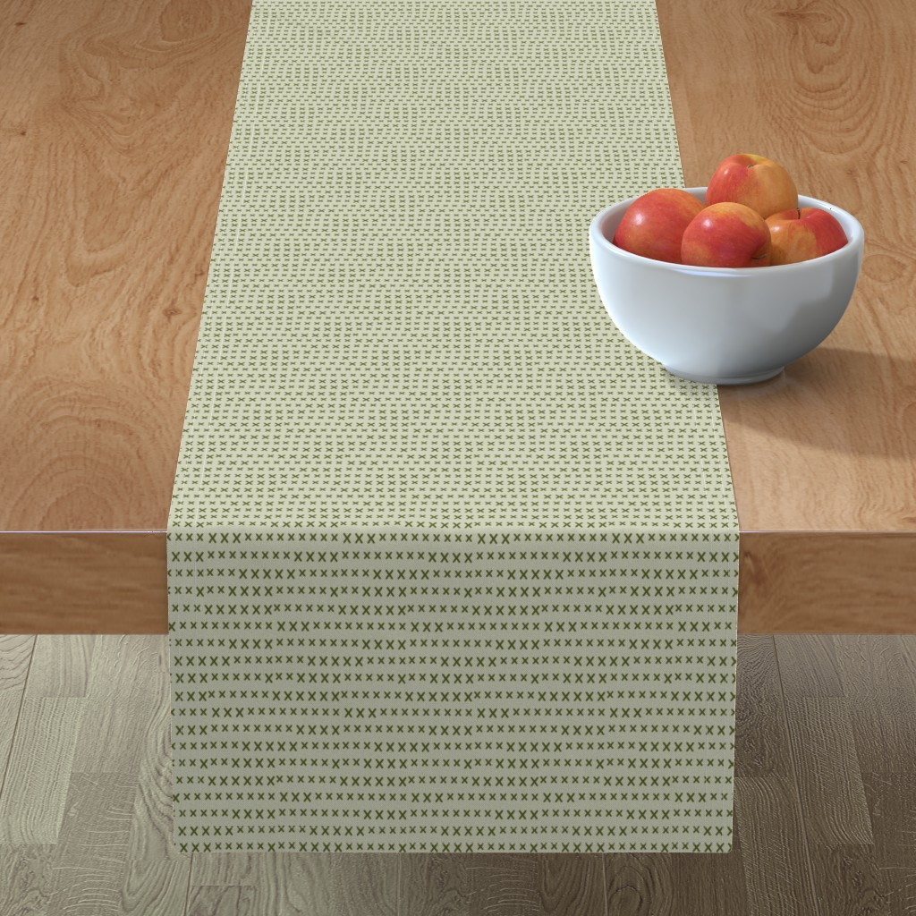 Minorca Table Runner featuring grass green kisses on sage by ali*b