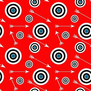 Black, white and blue targets on Red